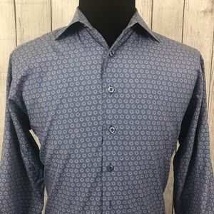Thomas Pink 16 Blue Geometric Button Dress Shirt